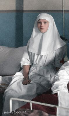 "memoriesoftime97: "" Grand Duchess Tatiana working as a nurse during World War 1. ""Originally black and white photo colorized in Photoshop. "" """
