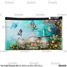 Shop Fae Lake Fantasy Art Cosmetic Bag created by BohemianBoundProduct. Kindle Case, Jar Art, Cosmetic Bag, Science Fiction, Fantasy Art, Cosmetics, Bags, Sci Fi, Handbags