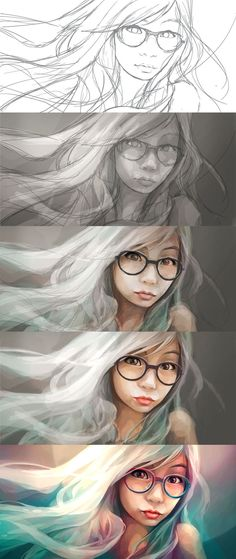The Making of digital portraits - My sister by ~engkit on deviantART