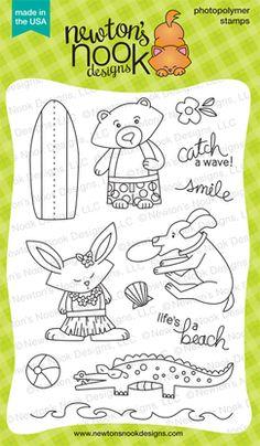 Beach Party | 4x6 photopolymer Stamp Set | Newton's Nook Designs