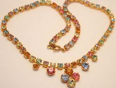 Vintage rhinestone necklace. Pastel by chicvintageboutique on Etsy, $25.00