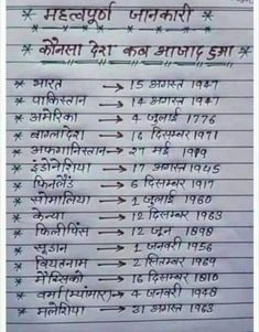 Dates of independence of countg G ries 🌿 General Knowledge Book, Gernal Knowledge, Knowledge Quotes, Science Vocabulary, Vocabulary Words, English Vocabulary, English Grammar, Hindi Language Learning, Learn Hindi