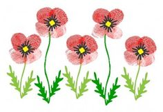Fingerprint poppies: draw in the leaves & center first
