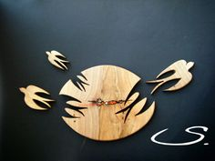 Wooden Walnut Wall Modern Clock with Swallows by svetli79 on Etsy