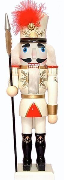One of our unique designs, this decorative nutcracker sports white pants and a white and red jacket with a glittery, snowflake design. He's sure to add a touch of elegance to your nutcracker collection. He completes his ensemble with a white and black top hat, adorned with a red plume.