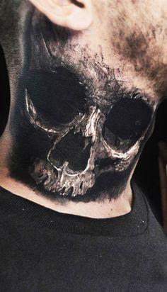 Realistic Skull Guys Neck Tattoo Body Art @thistookmymoney