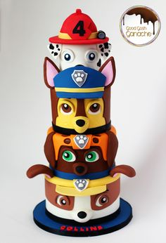 Birthday Cake - all paw patrol pups Bolo Do Paw Patrol, Torta Paw Patrol, Paw Patrol Birthday Cake, Paw Patrol Party, Cake Disney, Character Cakes, Cute Cookies, Novelty Cakes, Creative Cakes