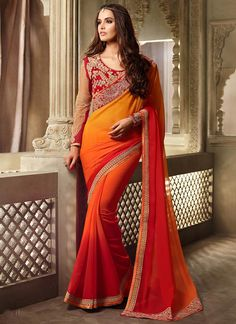 Buy Multicolored Ombre Georgette Border Saree online from the wide collection of Saree.  This Multicolored  colored Saree in Faux Georgette  fabric goes well with any occasion. Shop online Designer Saree from cbazaar at the lowest price.