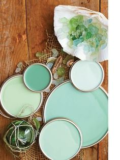 turquoise & sea glass paints - clockwise L-R celadon (dutch boy), eucalyptus (behr), carribean (oittsburgh paints), mermaid (benjamin moore), lambs ear (valspar)