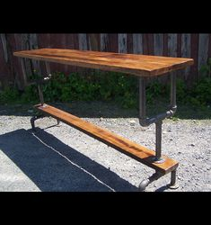 Industrial Style Bar Height Table with Metal Pipe Base and Reclaimed Wood Plank Top | Rustic Restaurant Furniture