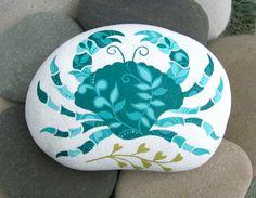 Beach Stone Art. Hand Painted Cape Cod Beach Stone.