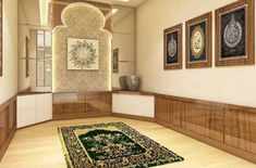 Design Inspirations for a Prayer Room at Home - CasaNesia Prayer Corner, Islamic Wall Decor, Home Design Living Room, Prayer Room, Room Goals, Islamic Architecture, Aesthetic Rooms, New Homes, House Design