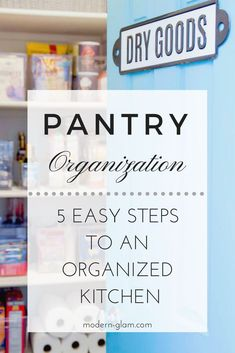 Organize your pantry with these 5 simple steps! Pantry organization made easy! #organizing #kitchen #kitchenorganization