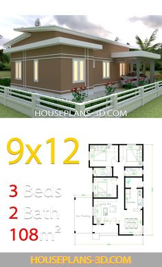 House design with 3 bedrooms slop roof - House Plans - Decoring Ideas Dream House Plans, Small House Plans, Dream Houses, Small House Design, Modern House Design, Single Floor House Design, Tiny House Cabin, House Roof, Home Design Plans