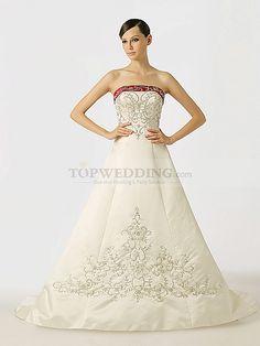 Two Tone Strapless Embroidered Satin Princess Wedding Dress