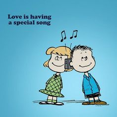 Love is having a special song. - The Peanuts Snoopy Comics, Snoopy Cartoon, Peanuts Cartoon, Peanuts Snoopy, Dog Cartoons, Garfield Cartoon, Snoopy Images, Snoopy Pictures, Charlie Brown Und Snoopy