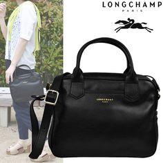 Black longchamp bag medium Black longchamp bag brown straps Longchamp Bags Totes