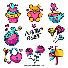Variety of colorful valentine elements Free Vector