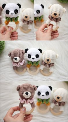 Bears baby rattle for newborn / Teething ring forest animals / Neutral first toy / Wooden teether animals / Animal rattle / Baby shower gift Baby Shower Baskets, Baby Shower Gifts, Baby Gifts, Kids Photo Props, Newborn Photo Props, Easter Crochet, Crochet Baby, Handgemachtes Baby, Creative Textiles