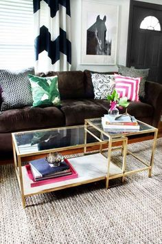 With a little gold spray paint and faux marble finishing, a Vittsjö nesting coffee table ($59.99) looks like you paid $800 for it.