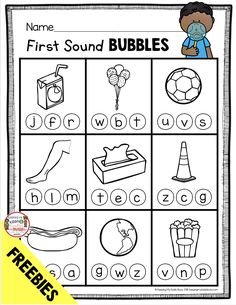 FREE First Sound Bubbles - freebie printable worksheet to practice letter sounds and phonics - kindergarten phonics activities and worksheets - letter sound literacy centers and MORE! Perfect for beginning of the year in kindergarten and back to school Kindergarten Freebies, Kindergarten Reading, Kindergarten Letter Worksheets, Phonics Reading, Teaching Reading, Reading Comprehension, Teaching Letter Sounds, Teaching Letters, Letter Sound Activities