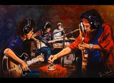 Conversation Piece II 2006 by Ronnie Wood (Rolling Stones) Ronnie Wood Art, Rolling Stones Album Covers, Keith Richards Guitars, Los Rolling Stones, Ron Woods, New York Galleries, Charlie Watts, Caricature Drawing, Famous Musicians