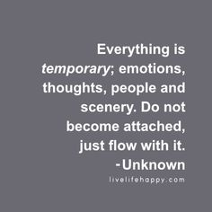 Everything is temporary; emotions, thoughts, people and scenery. Do not become attached, just flow with it. – Unknown, livelifehappy.com