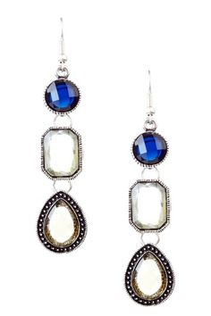 Olivia Welles  Antique Silver Mixed Bezel Trio Earrings  $10.00