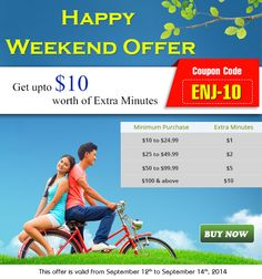 Hurry Up- Enjoy the weekend offer by #Amantel and get free minutes with Coupon Code- (ENJ-10) http://www.prlog.org/12370596-enjoy-10-worth-of-free-minutes-on-this-super-weekend-offered-by-amantel.html