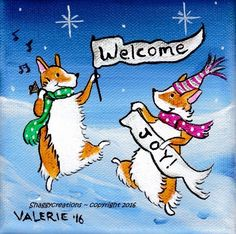 WELSH PEMBROKE CORGI  PAINTING DOG ORIGINAL Happy New Year Happy  Corgi Party