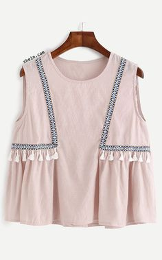 SheIn offers Pink Embroidered Tape Detail Tassel Trim Top & more to fit your fashionable needs.New Arrivals by BellanblueŚliczny top z chwostamiDesigner Clothes, Shoes & Bags for WomenTops on Sale Fashion Mode, Kids Fashion, India Fashion, Looks Style, My Style, Pink Style, Summer Outfits, Cute Outfits, Mode Inspiration
