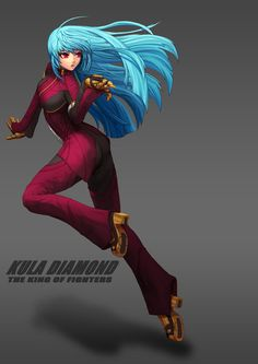 belt blue_hair chaps cropped_jacket emmental_void full_body gloves highres kula_diamond long_hair red_eyes solo the_king_of_fighters the_king_of_fighters_xiv Fantasy Comics, Anime Fantasy, Kula Diamond, Snk King Of Fighters, Brave Frontier, Anime Oc, Cartoon Games, Mobile Legends, Video Game Characters