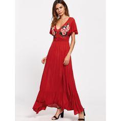 f0b0984154  Symmetrical  Embroidery  Patch  Flutter  Sleeve  Ruffle  Hem  Dress