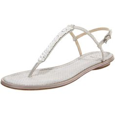 B Brian Atwood Crystal Flat Thong Sandal ($125) ❤ liked on Polyvore featuring shoes, sandals, flats, sandels, sling back sandals, slingback flat sandals, snakeskin flat sandals, flat sandals and flats sandals