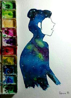 Cada um tem um universo a ser explorado dentro de nós.  #aquarela #watercolour