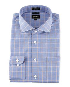 Non-Iron Trim-Fit Two-Tone Houndstooth Dress Shirt, Orange/Navy by Neiman Marcus at Neiman Marcus Last Call.