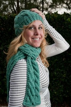 Knit and Tonic Natty Duo Cabled Hat & Scarf Pattern