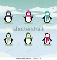 Illustration of six adorable penguins wearing hats and scarves in a winter scene.| ID:351134378 Copyright: Amalia Ferreira Espinoza penguin, wallpaper, cold, fun, happiness, christmas, gift, ice, fabric, cute, illustration, funny, decorative, design, group, winter, blue, adorable, art, background, pattern, cartoon, repetition, happy #illustration #stockimage AFE Images