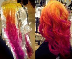 Yellow, light-dark orange, reddish-pink, hot pink & purple ombre tips