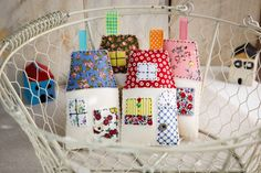 Piece a Classic Churn Dash Quilt! Make a Penny Rug Purse! Crochet a Multi-Colored Striped Scarf! The Creative Gifts of ADHD! Create a Simple Felt Scissors Pouch! Quilted Christmas Ornaments, Christmas Fabric, Christmas Crafts, Christmas Houses, Christmas 2019, Cute Crafts, Felt Crafts, Diy Crafts, Hand Sewing Projects