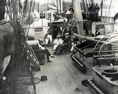 https://flic.kr/p/trKMw9 | LC-DIG-PPMSCA-34005 | LC-DIG-PPMSCA-34005:   U.S. Naval Officers relaxing on deck of an unidentified warship during the Civil War.   (4/23/2015).