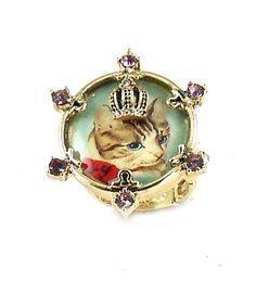 Betsey Johnson Jewelry VINTAGE KITTY Cameo Ring VINTAGE KITTY!Fun! Super fun Vintage Kitty Cameo Ring cuteness ! Ring super cute. VINTAGE KITTY really pretty cameos in this collection Fantastic Statement comes with Bellabacci Gift Box  VINTAGE KITTY Collection Limited Edition