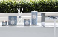 Shearer Candles Vanilla and Coconut Candles. A summer scent of warm-baked coconut infused with scrumption hints of vanilla pod. Available as jar candles, tin candles, pillar candles, tealights, in candle gift boxes, as, scented reed diffusers, diffuser refills and pillar jar candles. Beautiful grey packaging and perfect for alfresco dining.