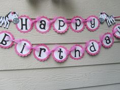Hot Pink and Black Zebra Stripe Birthday Banner Can Customize With Name. $22.99, via Etsy.