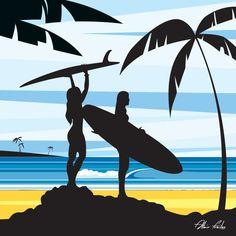 Surf art wave out, 2019 Surfboard Painting, Surfboard Art, Skateboard Art, Surf Design, Surf Kunst, Kunst Poster, Tropical Art, Beach Art, Vector Art