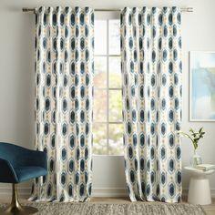 Cotton Canvas Ikat Gem Printed Curtain, Set of 2, Blue Teal, 48