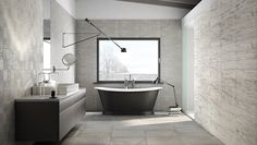How gorgeous is our Start series? It's a collection of white body wall tiles and glazed porcelain floor tiles that combines the minimalist mood of cement with the warmth of natural wood. Wall And Floor Tiles, Wall Tiles, Olympia Tile, Background Tile, Beautiful Bathrooms, Bathroom Flooring, Clawfoot Bathtub, Corner Bathtub, Decoration