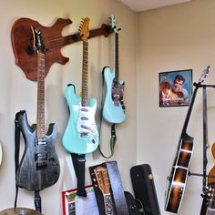 """Wall-Axe Custom Guitar Hanger """"Bugsey LX (Summerflame)"""" $117. See all of the styles and color choices to hang your guitars in style at: www.WallAxe.com"""
