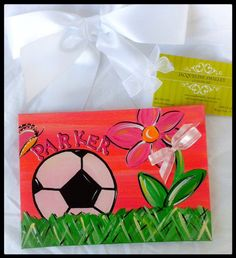 Personalized 5x7 Hand Painted Soccer Canvas Panel by JacquelineSmalley on Etsy https://www.etsy.com/listing/80469529/personalized-5x7-hand-painted-soccer