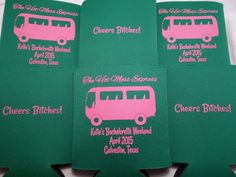The hot mess express! Green custom bachelorette koozies by Odyssey Custom Designs  Wedding Favor, Bachelorette Party Favor